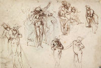 Figure studies for an Adoration of the Magi