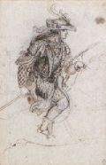 Drawing of a young man in costume on horseback