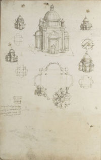 Codex Ashburnham Fol. 93v - Designs for a centrally planned church. Photo RMN - © René-Gabriel Ojéda